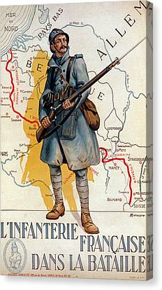 The French Infantry In The Battle Canvas Print by H Delaspre