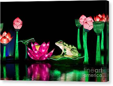 The Frog And Lotus Canvas Print by Tim Gainey