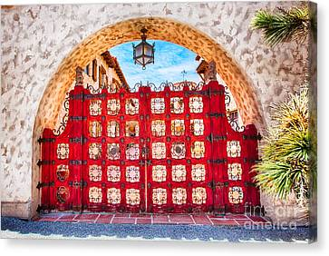 The Front Gate At Scotty's Castle Canvas Print by Mimi Ditchie