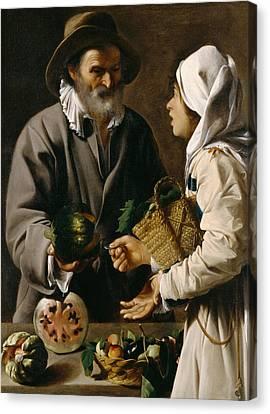 The Fruit Vendor Canvas Print by Pensionante de Saraceni