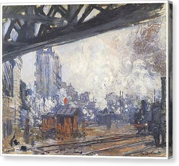 The Gare Saint-lazare Outside View Canvas Print by Claude Monet