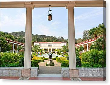 The Getty Villa Main Courtyard View From Covered Walkway. Canvas Print by Jamie Pham