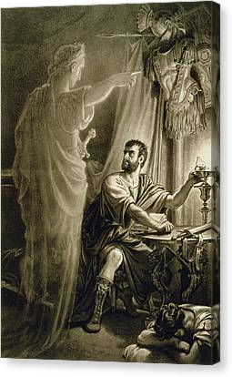 The Ghost Of Julius Caesar, In The Play Canvas Print by English School
