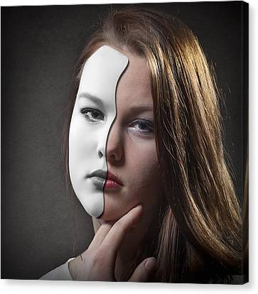 The Girl Behind The Mask Canvas Print by Erik Brede