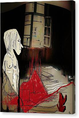 The Girl With The Red Shoes Canvas Print by Franziska Kolbe