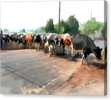 The Girls Crossing The Road Canvas Print by Bill Losey