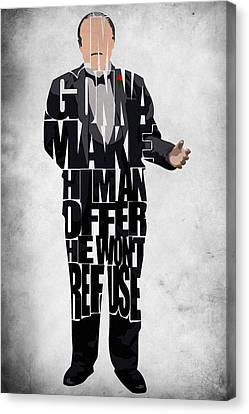 The Godfather Inspired Don Vito Corleone Typography Artwork Canvas Print by Ayse Deniz