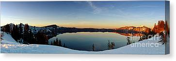 The Golden Hour - Crater Lake Canvas Print by Beve Brown-Clark Photography