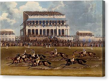 The Grand Stand At Epsom Races, Print Canvas Print by James Pollard