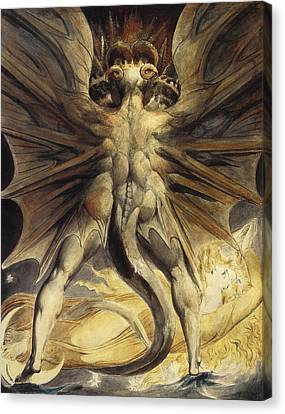 The Great Red Dragon And The Woman Clothed In Sun Canvas Print by William Blake