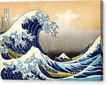 The Great Wave At Kanagawa Canvas Print by Katsushika Hokusai