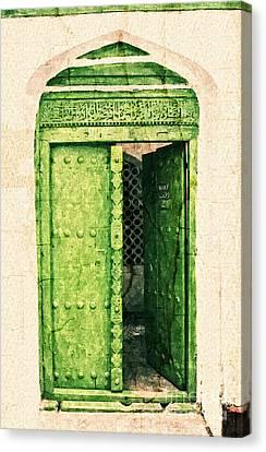 Zanzibar Green Door Watercolor Etch Canvas Print by Nasser Studios