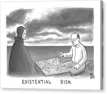 The Grim Reaper And A Man Play Existential Risk Canvas Print by Paul Noth