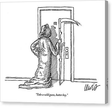 The Grim Reaper Knocks On An Apartment Door Canvas Print by Eric Lewis