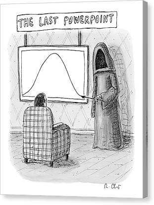 The Grim Reaper Points To A Screen As A Man Canvas Print by Roz Chast