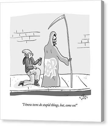 The Grim Reaper Speaks As A  Teenager Spray Canvas Print by Farley Katz