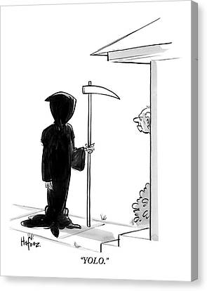 The Grim Reaper Stands At A Man's Door Step -- Canvas Print by Kaamran Hafeez