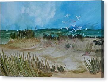 The Gulls Canvas Print by Deborah Brier-Andrews