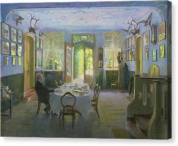 The Hall Of The Manor House In Waltershof Canvas Print by Hans Olde