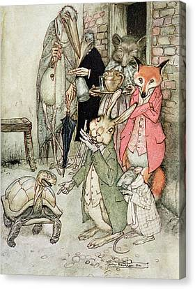 The Hare And The Tortoise, Illustration From Aesops Fables, Published By Heinemann, 1912 Colour Canvas Print by Arthur Rackham
