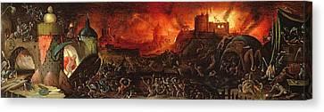 The Harrowing Of Hell Oil On Panel Canvas Print by Herri met de Bles