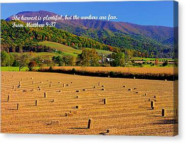The Harvest Is Plentiful But The Workers Are Few - From Matthew 9.37 - Autumn Shenandoah Valley Canvas Print by Michael Mazaika