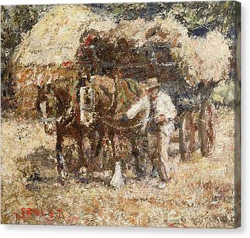 The Hay Wagon Canvas Print by Harry Fidler