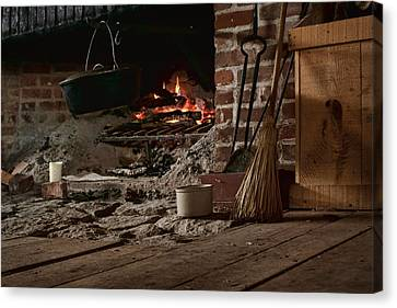 The Hearth - Fireplace Canvas Print by Nikolyn McDonald