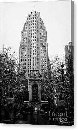 The Herald Square Building In The Rain Herald Square Broadway And 6th Avenue New York City Nyc Canvas Print by Joe Fox