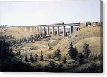 The High Bridge Near Farmville, Prince Canvas Print by Edward Beyer