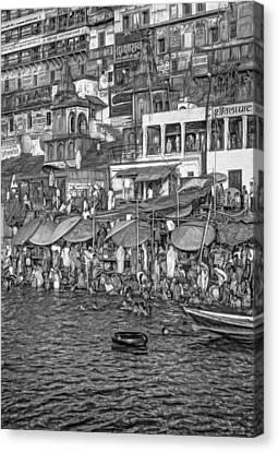 The Holy Ganges - Paint Bw Canvas Print by Steve Harrington