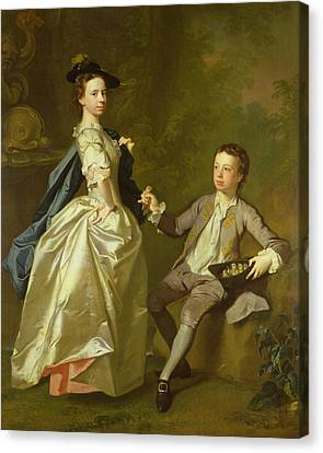 The Hon. Rachel Hamilton And Her Brother, The Hon. Charles Hamilton, 1740 Canvas Print by Allan Ramsay