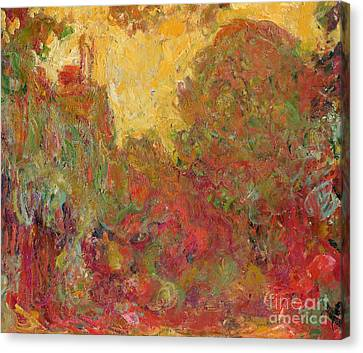 The House Seen From The Rose Garden Canvas Print by Claude Monet