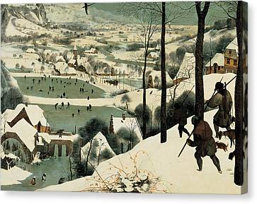 The Hunters In The Snow Canvas Print by Jan the Elder Brueghel