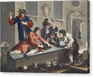 The Idle Prentice At Play In The Church Canvas Print by William Hogarth