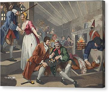 The Idle Prentice Betrayed Canvas Print by William Hogarth