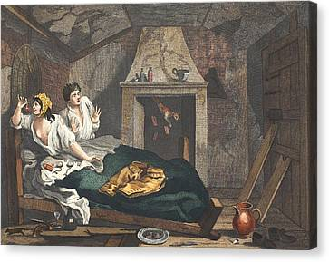 The Idle Prentice Returned From Sea Canvas Print by William Hogarth