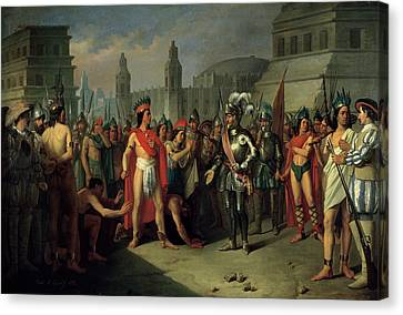 The Imprisonment Of Guatimocin By The Troops Of Hernan Cortes, 1856 Oil On Canvas Canvas Print by Carlos Maria Esquivel