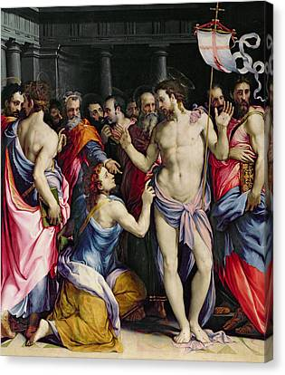 The Incredulity Of Saint Thomas Canvas Print by Francesco de Rossi Salviati Cecchino