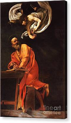 The Inspiration Of Saint Matthew Canvas Print by Pg Reproductions