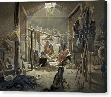 The Interior Of A Hut Of A Mandan Chief Canvas Print by Karl Bodmer