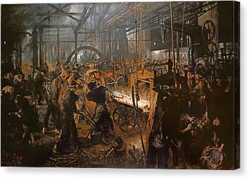 The Iron-rolling Mill Oil On Canvas, 1875 Canvas Print by Adolph Friedrich Erdmann von Menzel
