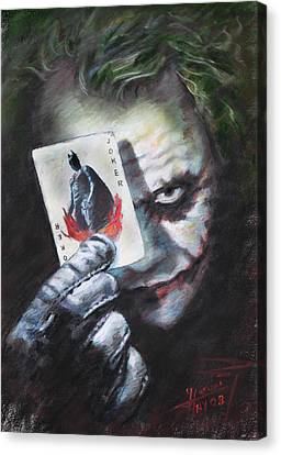 The Joker Heath Ledger  Canvas Print by Viola El