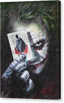 The Joker Heath Ledger  Canvas Print by Viola El