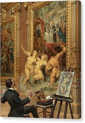 The Joys Of The Flooding Canvas Print by Louis Beroud