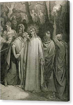 The Judas Kiss (matthew, Chapter Xxvi Canvas Print by Prisma Archivo
