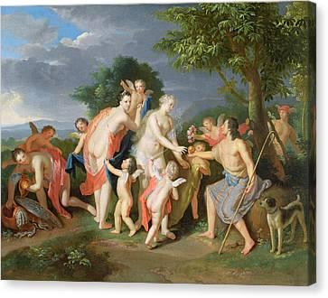 The Judgement Of Paris Canvas Print by Gerard Hoet