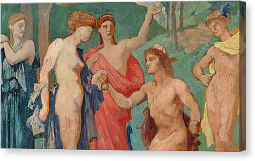The Judgement Of Paris Canvas Print by Jules Elie Delaunay