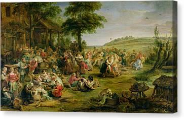The Kermesse, C.1635-38 Oil On Panel Canvas Print by Peter Paul Rubens