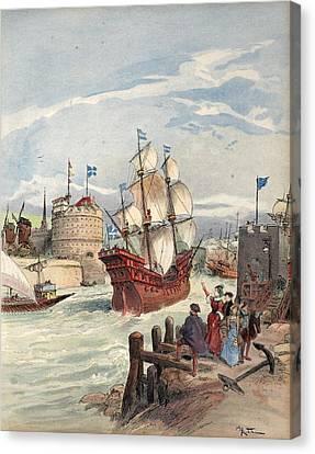 The Kings Fleet At Havre La Belle Canvas Print by Albert Robida